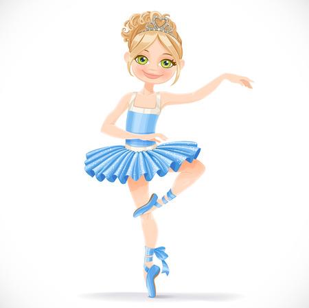 かわいいバレリーナの女の子の青いドレスの白い背景で隔離のダンス