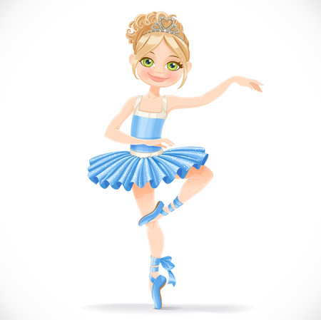 흰색 배경에 고립 파란 드레스에 귀여운 발레리나 소녀의 춤