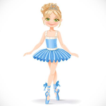 青いドレスを着て、白い背景で隔離のかわいいバレリーナの女の子