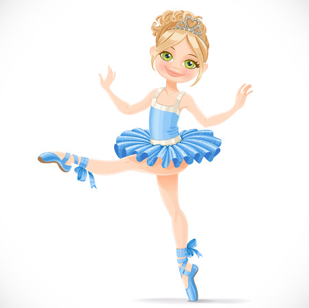 ballet tutu: Graceful ballerina girl dancing in blue dress isolated on a white background