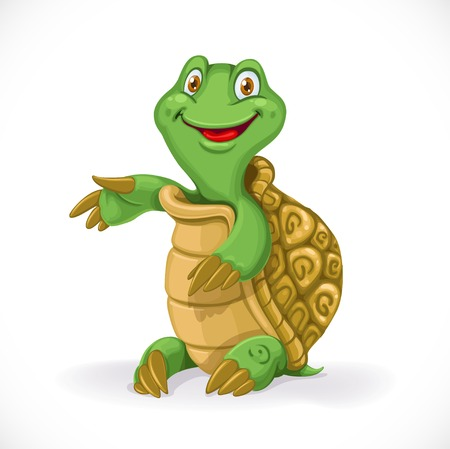 baby turtle: Cute cartoon baby turtle sit on floor isolated on white background Illustration