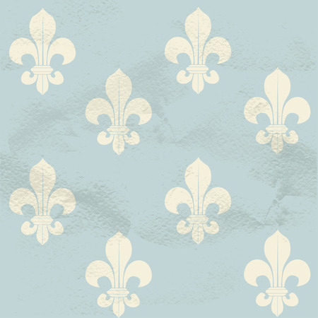symbol fleur de lis: Blue seamless grungy vintage pattern from white Fleur-de-lys Illustration