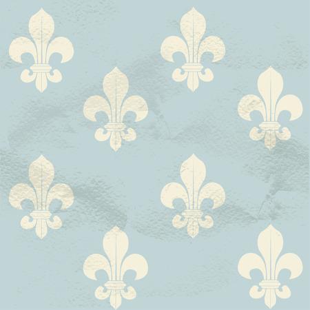 Blue seamless grungy vintage pattern from white Fleur-de-lys Illustration