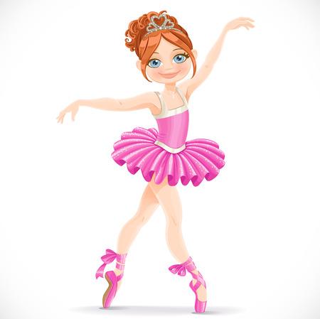 Mooie brunette ballerina meisje dansen in roze jurk geïsoleerd op een witte achtergrond