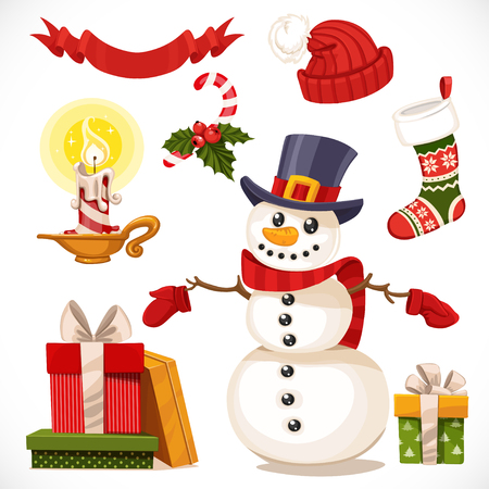 Set of Christmas icons snowman, candle, gifts isolated on white background