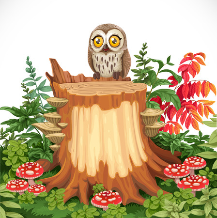 Cute owl sitting on stump surrounded by toadstools isolated on a white background Stock Illustratie