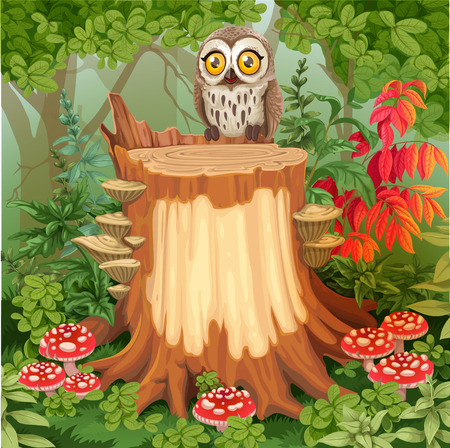 Fairy forest glade with cute owl sitting on stump surrounded by toadstools - a place for your text Vectores