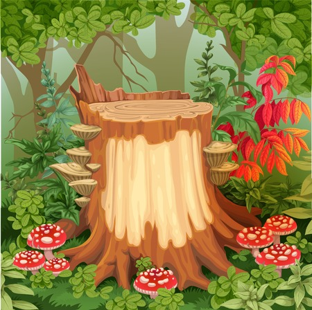 fairy tree: Fairy forest glade with drawing stump surrounded by toadstools - a place for your text