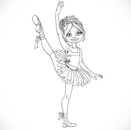 Ballerina meisje dansen in ballet tutu op één been geschetst geïsoleerd op een witte achtergrond