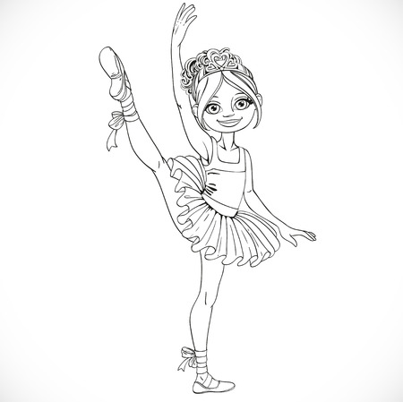 Ballerina girl dancing in ballet tutu on one leg outlined isolated on a white background Illustration