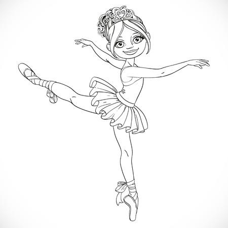 outlined isolated: Bailarina ni�a bailando en tut� de ballet esboz� aislado en un fondo blanco