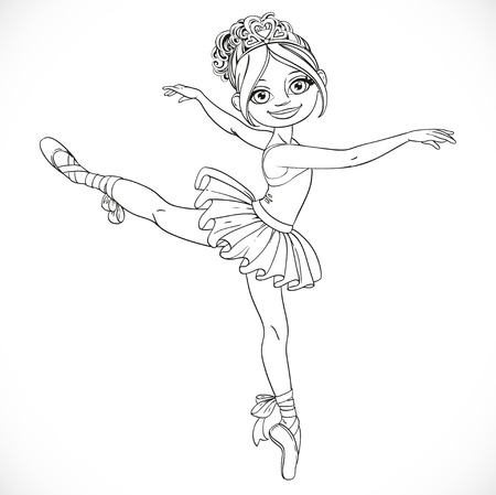 outlined isolated: Ballerina girl dancing in ballet tutu outlined isolated on a white background