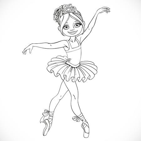 outlined isolated: Baile hermoso de la muchacha de la bailarina en tut� deline� aislado en un fondo blanco