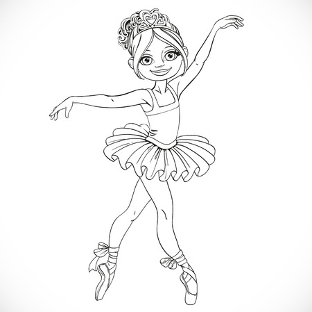 outlined isolated: Beautiful ballerina girl dancing in tutu outlined isolated on a white background
