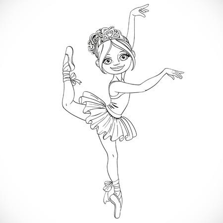 outlined isolated: Baile lindo ni�a bailarina en tut� deline� aislado en un fondo blanco