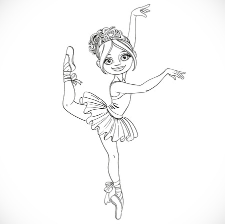 outlined isolated: Cute ballerina girl dancing in tutu outlined isolated on a white background