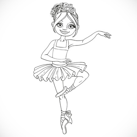 outlined isolated: Cute ballerina girl dancing outlined isolated on a white background