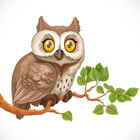 Cute owl sitting on a branch isolated on a white background Illustration
