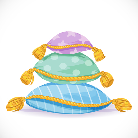 bed sheet: Pile of pillows with tassels isolated on a white background