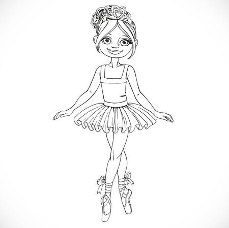 outlined isolated: Baile de la muchacha bonita de la bailarina en tut� de ballet esboz� aislado en un fondo blanco