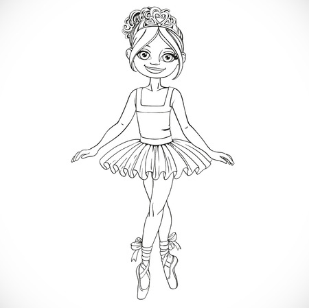 Pretty ballerina girl dancing in ballet tutu outlined isolated on a white background