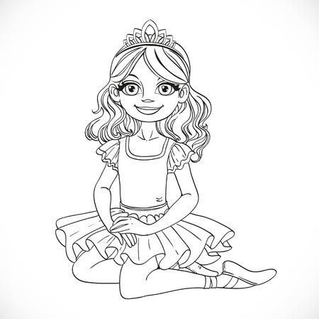 outlined isolated: Muchacha de la bailarina en tut� y tiara sentarse en el piso deline� aislado en un fondo blanco