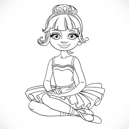 Mooie ballerina meisje in tutu en tiara zitten op vloer geschetst geïsoleerd op een witte achtergrond