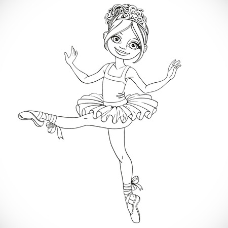 outlined isolated: Beautiful ballerina girl in tutu outlined isolated on a white background