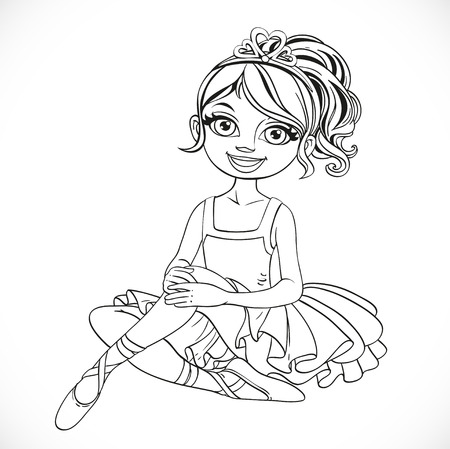 outlined isolated: Beautiful ballerina girl intutu and tiara sit on floor outlined isolated on a white background Illustration