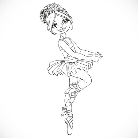 is outlined: Beautiful ballerina girl outlined isolated on a white background