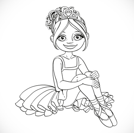 outlined isolated: Beautiful little ballerina girl in dress sit on floor outlined isolated on a white background