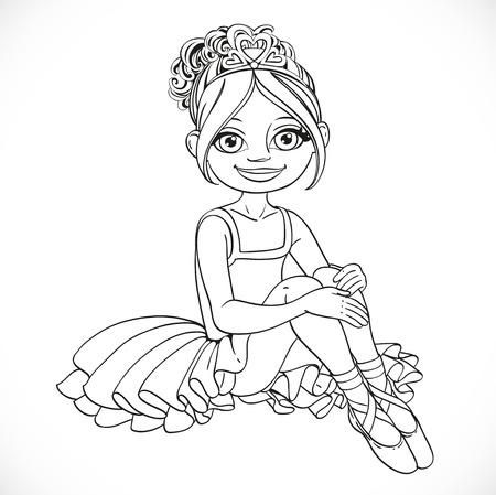 outlined isolated: Ni�a bailarina hermosa en vestido de sentarse en el piso esboz� aislado en un fondo blanco