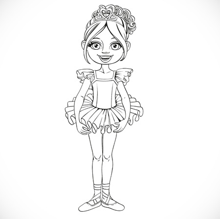 outlined isolated: Beautiful little ballerina girl in tiara with hearts outlined isolated on a white background