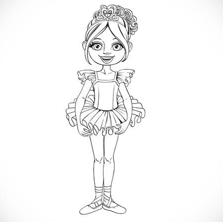 outlined isolated: Ni�a hermosa bailarina en tiara con corazones esboz� aislado en un fondo blanco