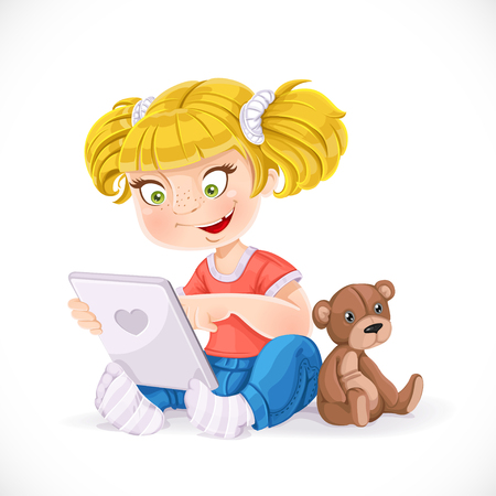 little girl sitting: Beautiful little girl sitting on the floor with a tablet and a teddy bea