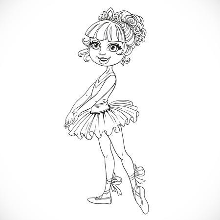 outlined isolated: Chica bonita linda en tiara deline� aislado en un fondo blanco