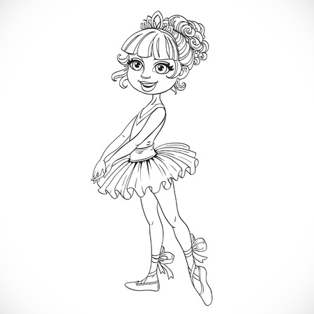outlined isolated: Cute pretty girl in tiara outlined isolated on a white background Illustration
