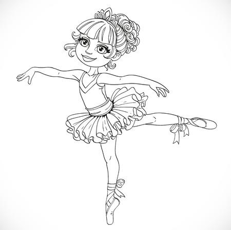 outlined isolated: Baile de la ni�a bailarina en tut� de ballet en una pierna deline� aislado en un fondo blanco