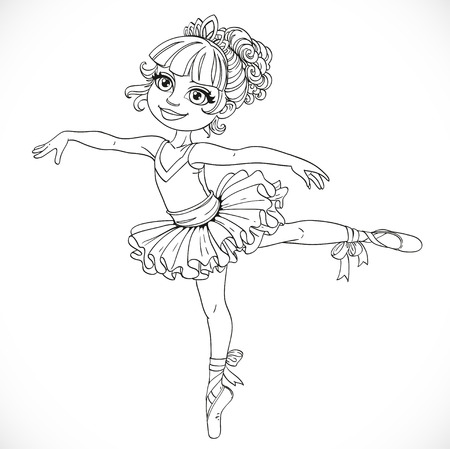 outlined isolated: Little ballerina girl dancing in ballet tutu on one leg outlined isolated on a white background
