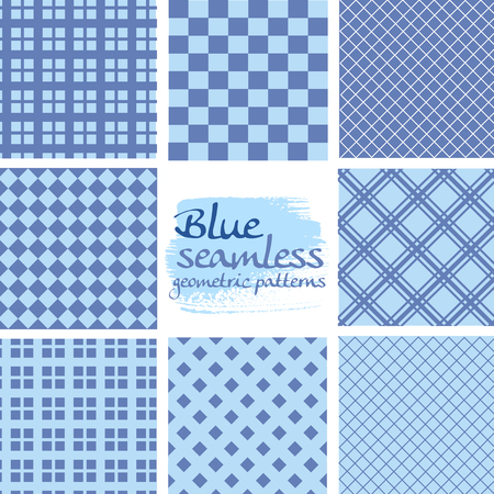 in the square: Set of blue seamless geometric patterns in square