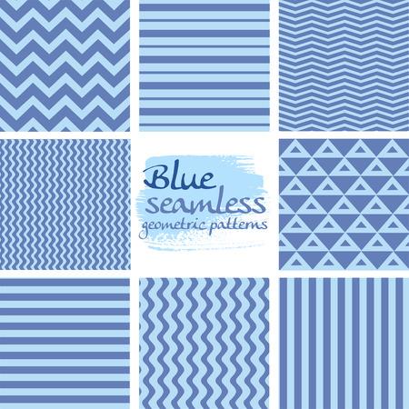 diagonal stripes: Set of blue seamless geometric patterns on white 1 Illustration