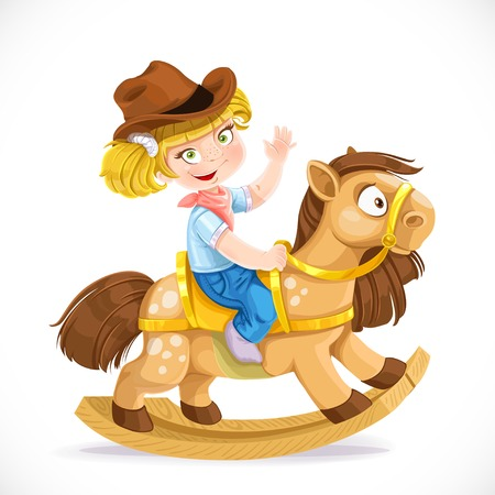 cowgirl and cowboy: Cute little girl sits on the toy rocking horse Illustration