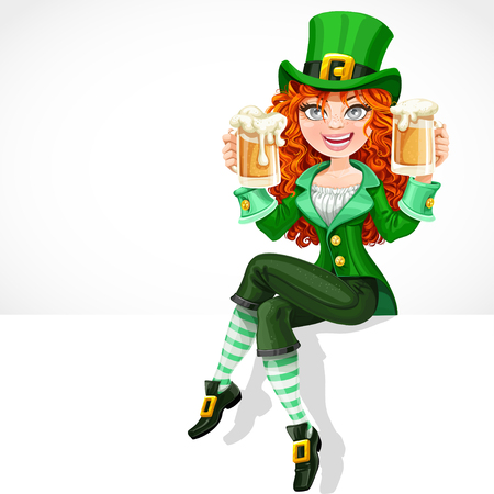 Beautiful red-haired girl leprechaun sitting on the banner white and offers a beer Иллюстрация