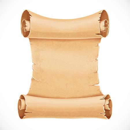 pergamino: Gran desplazamiento de pergamino para su diseño aislado en un fondo blanco