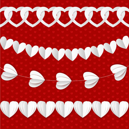 seamless paper: White seamless paper garlands from hearts Valentine on red seamless pattern background