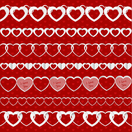 the explanation: White seamless paper garlands from hearts set on red seamless pattern background
