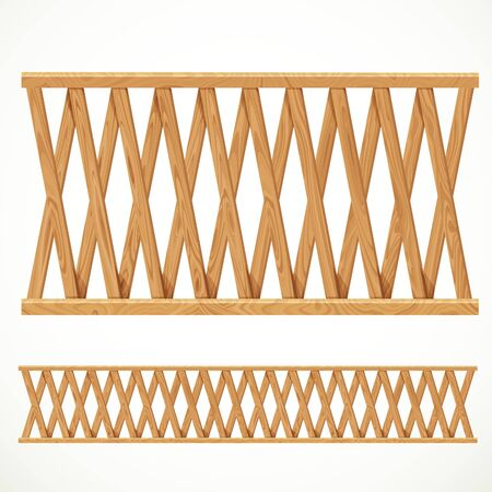 planking: Wooden fence from crossed planking isolated on white background Illustration