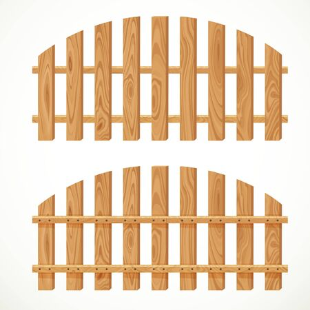 semicircular: Wooden semicircular fence isolated on white background