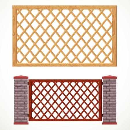 Wooden fence from crossed planking and with post from bricks in two variants of colors Vector