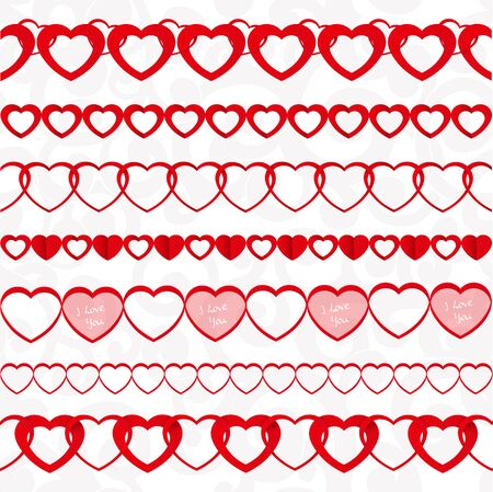 the explanation: Red seamless paper garlands from hearts set on white seamless pattern background